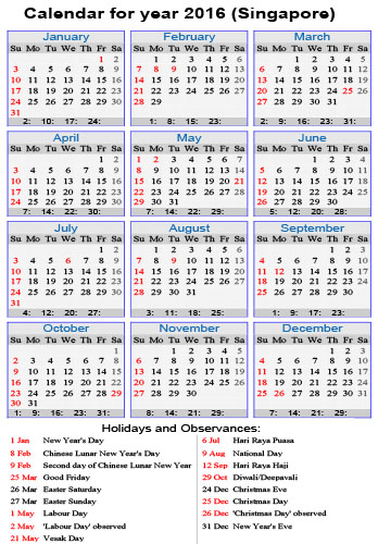 Yearly calendar 2016 for your upcoming holiday planning!